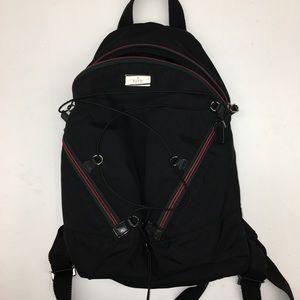 GUCCI Black Nylon Striped Drawstring Zip Backpack